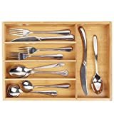 Silverware Utensil Cutlery Tray Bamboo Wooden Drawer Dividers 5 Compartments Organizer Kitchen Storage Holder for Flatware Knives Forks Spoons Accessories Gadgets