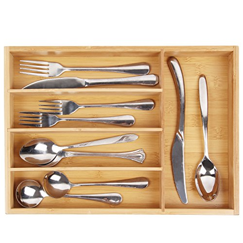 Utensil Cutlery Tray Bamboo wooden Drawer Dividers 5 Compartments Silverware Organizer Kitchen Storage Holder for Flatware Knives Forks Spoons Accessories or Gadgets by (Wooden Cutlery Tray)