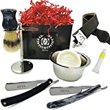 Mens Shaving Set 8 Pieces Cut Throat Straight Edge Razor Strop Bowl Dovo Paste Brush & Soap Shaving Gift Set/Kit