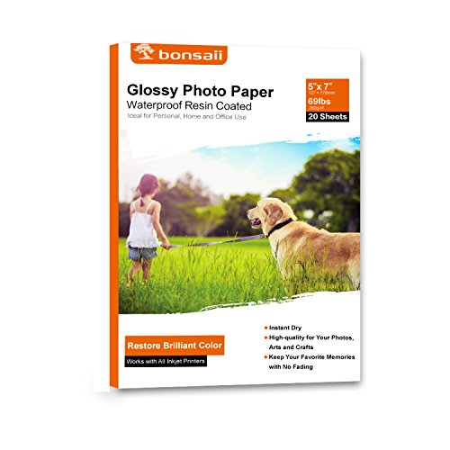 Bonsaii Glossy Photo Paper,Waterproof Resin Coated, 5x7 inches,20 Sheets