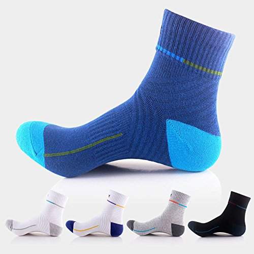 Mens Basketball Compression Athletic Outdoor Crew Socks | Pure Cotton Breathable | White Blue