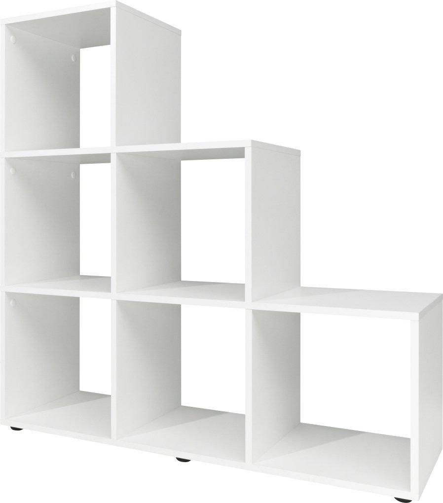 Stufenregal, Holz, weiß, 32 x 105 x 106 cm