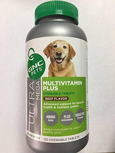 120 GNC Ultra Mega Multivitamin Plus Beef Flavor 3 for Senior Dogs