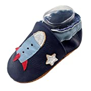 iEvolve Baby Shoes Rocket Baby Toddler Soft Sole Prewalker Baby First Walking Shoes Crib Shoes Baby Moccasins(Navyblue Rocket, 6-12 Months)