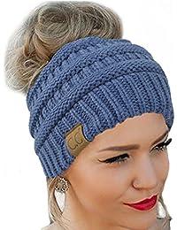 CC Quality Knit Messy Bun Hat Beanie