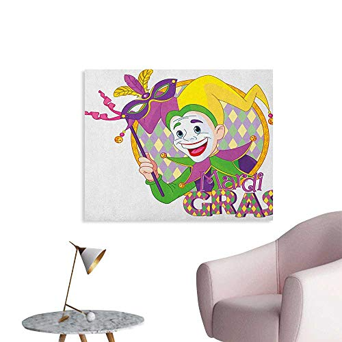 Anzhutwelve Mardi Gras Wallpaper Cartoon Design of Mardi Gras Jester Smiling and Holding a Mask Harlequin Figure Art Poster Multicolor W48 -