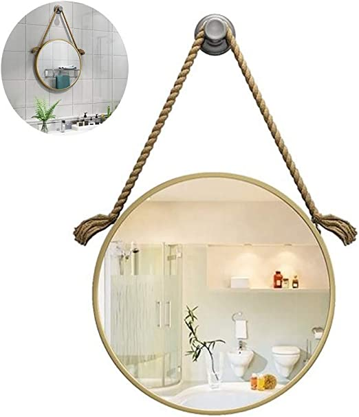 Color Gold Size 50cm Wall Mounted Mirror Bathroom Vanity Mirror Round Large Makeup Mirror With Shelf
