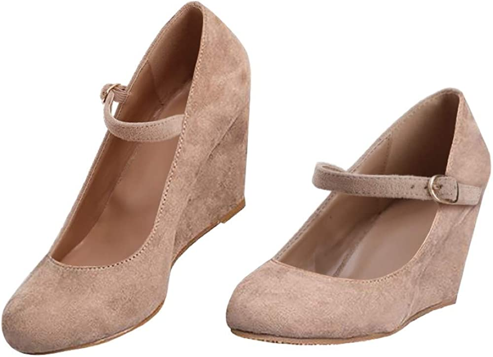 Syktkmx Womens Wedge Pumps Heels Mary
