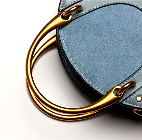 Bleu Mujer Ronde Messenger Vintage Retro Sac Mano couleur Handbag Brown Bolso Portable Rivet Bleu De Épaule Métal Femmes Femme Viaje Hxafav