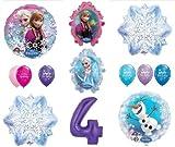 LoonBalloon FROZEN Anna ELSA OLAF Snowman Snowflake 4th #4 (12) Birthday Party Balloons Set