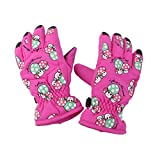 HUAJI Kid Winter Breathable Outdoor Mushroom Pattern Skiing Thickening Gloves