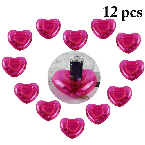 - Fansport 12PCS Pool Coaster Drink Float Inflatable Cute Heart Drink Holder