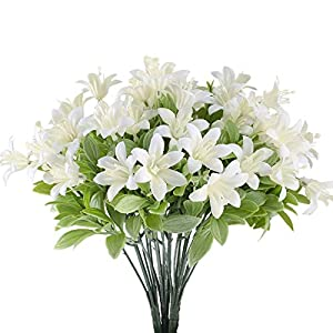 HUAESIN Faux Flowers Decor Fake Flowers for Outside Greenery Shrubs Bushes Plastic Plants Tiger Lily for Tables Centerpiece Vase Wedding Cemetery Decor White 4pcs 7