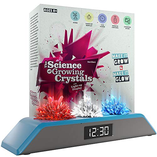 (Dan & Darci Premium Remote Controlled Light-up Crystal Growing Kit Clock - Grow Your Own Crystals and Make Them Glow! Great Science Expirement Gift for Kids, Boys & Girls | STEM Toys | Crystal Making )