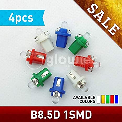 Sale 4Pcs Auto W1.2W T5 B8.5D Led Auto Car 5050 Bulb Led B8.5 509T W3W Gauge Dashboard Map Lamp Light 12V Car Svk - (Red) - - Amazon.com