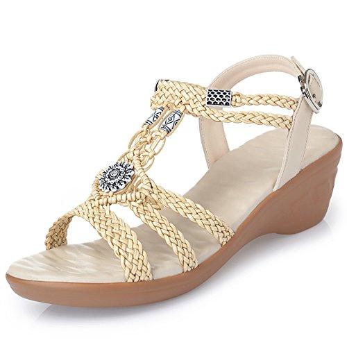 1 estilo de Zapatos Verano playa XIAOLIN mujer impermeable 5 étnico Trenzado con para de con mujer 5 del Altura para de 01 Sandalias 01 5 Tamaño EU39 UK6 mujer tacón Zapatos de Pendientes cm Tabla Color tacón tamaño opcional cm zapatos dYfaqCfU