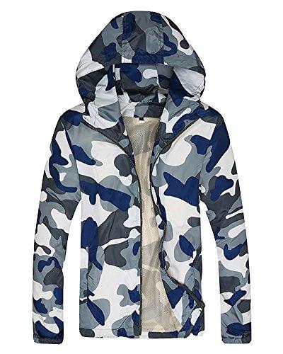 Jacket Elegante Camo Grande Militare Bianco Sciolto Uomo Cappotto Blu Traspirante Giacca 0ZXqRd