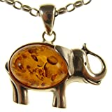 """BALTIC AMBER AND STERLING SILVER 925 ELEPHANT PENDANT NECKLACE - 14 16 18 20 22 24 26 28 30 32 34"""" 1mm ITALIAN SNAKE CHAIN"""