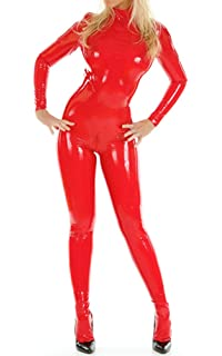 Amazoncom Fashion Queen Womens Wetllook Shinny Bodysuit Zip To