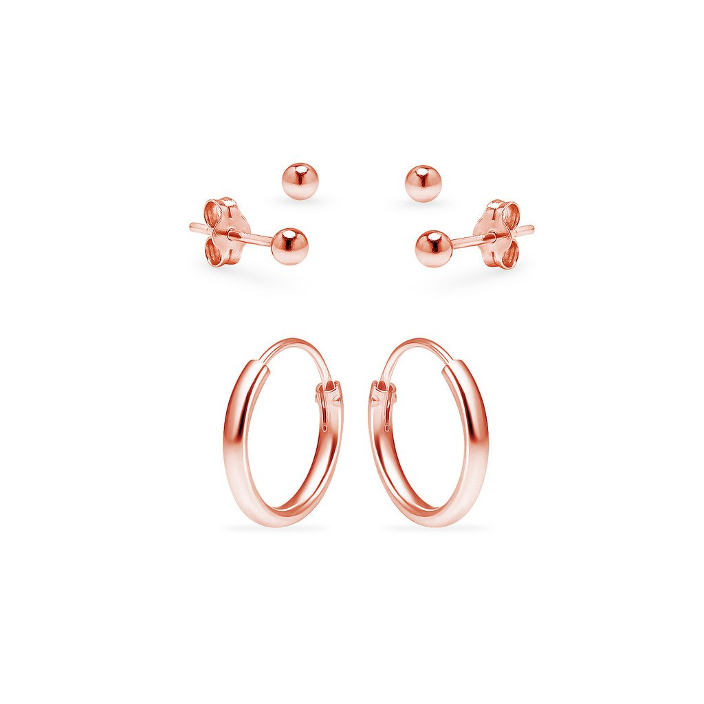 One Pair Sterling Silver 10mm Endless Hoops and Two Pairs 3mm Ball Stud Unisex Cartilage Earrings Set Rose Gold Flashed
