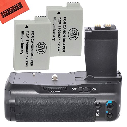Battery Grip Kit for Canon Rebel T2i T3i T4i T5i Digital SLR Camera Includes Qty 2 Replacement LP-E8 Batteries + Vertical Battery Grip + More!!