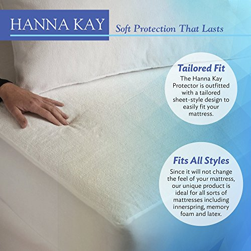 Hanna Kay Premium 100% Waterproof Mattress Protector ,Hypoallergenic - 10 Year Warranty...