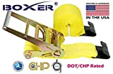(2) Boxer Dual Locking DOT 4'' X 30' Ratchet Straps W/ Flat Hooks Flatbed Truck Trailer Tie Down 5400 LB US Made