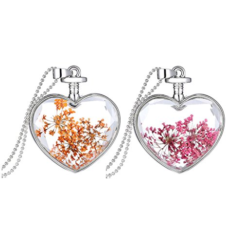 Women Forget Me Not Real Dried Pressed Flower Heart Shaped Glass Bottle Pendant Necklace 2 - Shaped Bottles Glass Heart