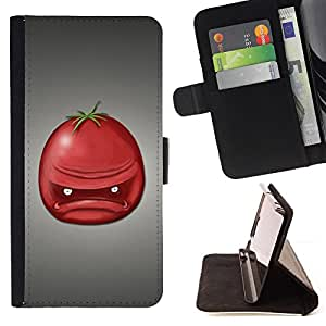 DEVIL CASE - FOR Sony Xperia m55w Z3 Compact Mini - Angry Tomato Red Fruit Art Face Portrait - Style PU Leather Case Wallet Flip Stand Flap Closure Cover