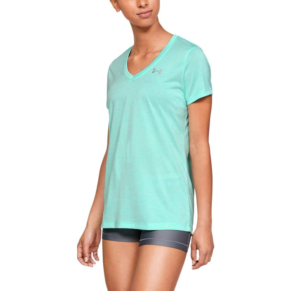Under Armour womens Tech V-Neck Twist Short Sleeve T-Shirt, Green (361)/Metallic Silver, X-Small by Under Armour