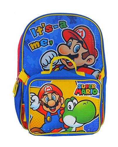 Super Mario School Backpack Lunch Box Book Bag Combo SET -