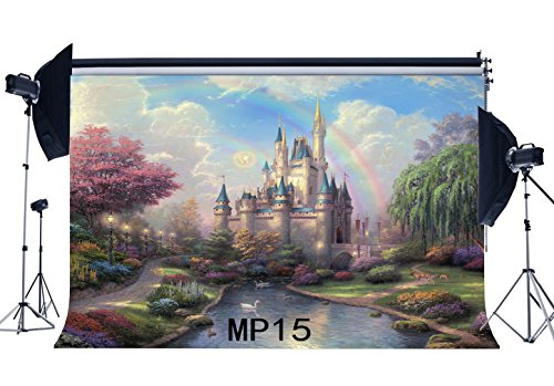 Gladbuy 7X5FT Fairytale Castle Backdrop Enchanted Garden Rainbow Pond Ducks Green Grass Lawn Blue Sky White Cloud Fantasy Vinyl Photography Background Girls Boys Happy Birthday Photo Studio Props MP15