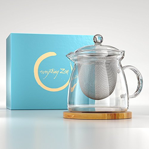 The Perfect Teapot - Premium Quality Hand Blown Glass Teapot - Stainless Steel Infuser & Engraved Bamboo Tea Pot Coaster - Enclosed in a Beautiful Gift Box - The Ideal Present – By Everything Zen