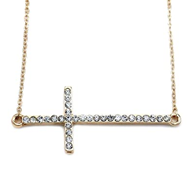 Amazon christian side sideways cross pendant necklace charm christian side sideways cross pendant necklace charm designer lady fashion jewelry aloadofball Gallery
