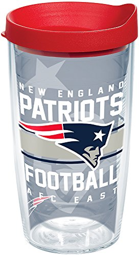 - Tervis 1180509 NFL New England Patriots Gridiron Tumbler with Wrap and Red Lid 16oz, Clear