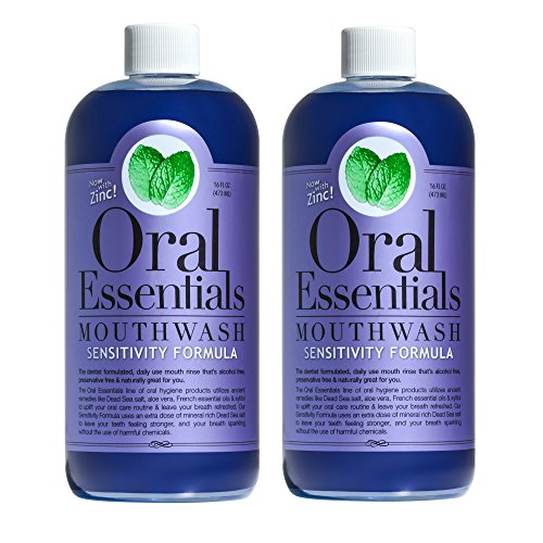 Oral Essentials Sensitive Teeth Mouthwash (Pack of 2) 16 Oz: Non-Toxic, No Harsh Chemicals, Dentist Formulated, and remineralizes sensitive teeth and roots Less Sensitivity in Two Weeks or Less
