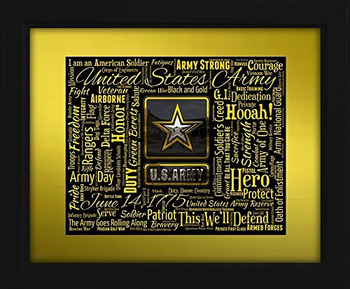 U.S. Army 16x20 Art Piece - Beautifully matted and framed behind glass
