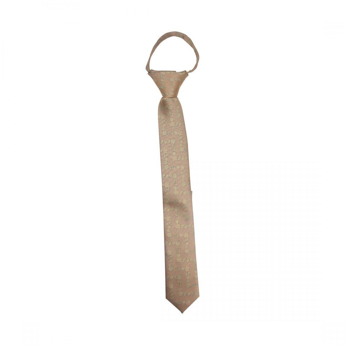 Flower Zig Zag Zipper Up Necktie Adjustable Formal