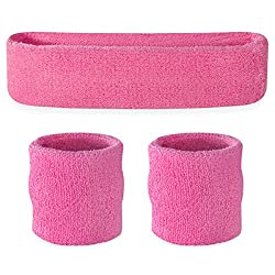 Suddora Pink Headband Wristband Set - Sports Sweatbands For Head & Wrist