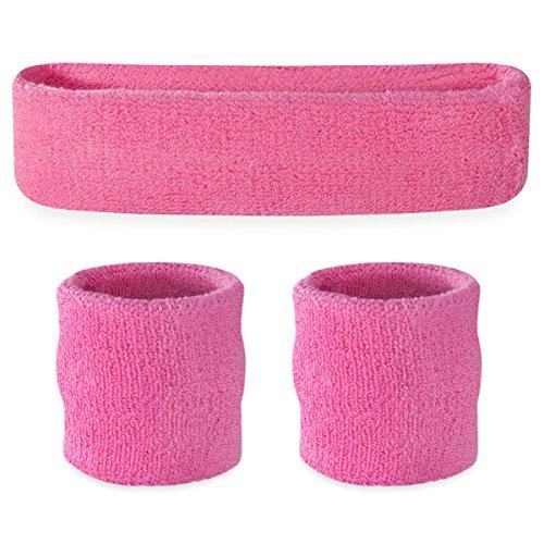Suddora Pink Headband/Wristband Set - Sports Sweatbands for Head and Wrist -