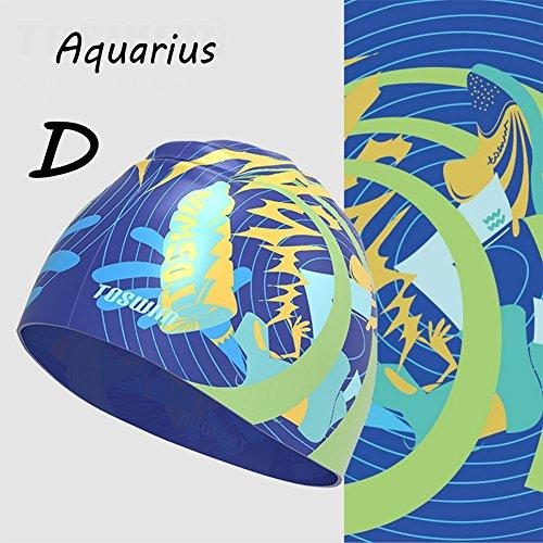 Zjsmm FRZ-Douze constellations Série Équipement de natation Gel de silice Bonnet de bain Imperméable Unisexe