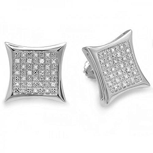 0.33 Carat (ctw) Sterling Silver Diamond Kite Shape Mens Ladies Hip Hop 14 mm Stud Earrings 1/3 CT by DazzlingRock Collection