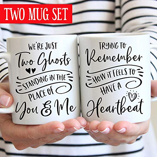 Two Ghosts Coffee Mug Set Harry Styles Two Ghosts Standing in the Place of You and Me Remember How It Feels to Have a Heartbeat