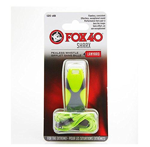 Fox 40 Sharx Safety with Break Away Lanyard, Neon/Grey