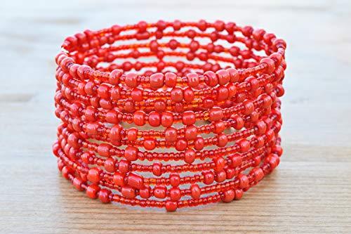 African Bracelet for Women - Maasai Jewelry - Beaded Wrap Bracelet - Handmade in Kenya - Ruby Red, KB010