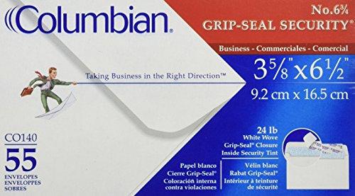 COLUMBIAN Grip-Seal Security Tint Business Envelope, 6 3/4, 3 5/8 x 6 1/2, White, 55/Box (Columbian Envelope Business Envelopes)