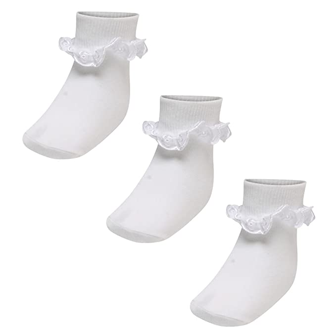 6 Pairs Baby Girls White Frilly Broiderie Anglaise Ankle Socks White uk 3-5½