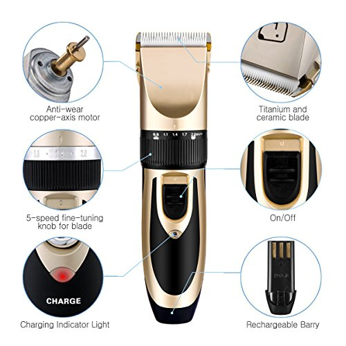 BigTron Professional Rechargeable Electrical Pet Grooming Clipper Kit for Dog and Cat Hair with Trimmer and Shaver