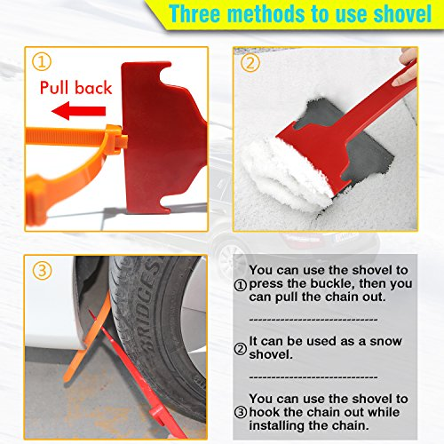 GAMPRO Anti-skid Chains 10 Pcs, Portable Emergency Traction Aid Anti-slip Snow Mud Sand Tire Chains Most Car SUV Van ATV etc. Comes Free Shovel Gloves(10 Pcs) by GAMPRO (Image #5)