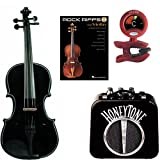 RockStar Violin Pack Black- Acoustic Violin w/ Electric Pickup, Mini Amp, Violin Tune /Metronome & Rock Riffs Violin Book